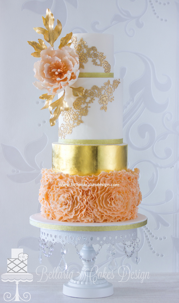 Gold and Orange fondant ruffled wedding Cake