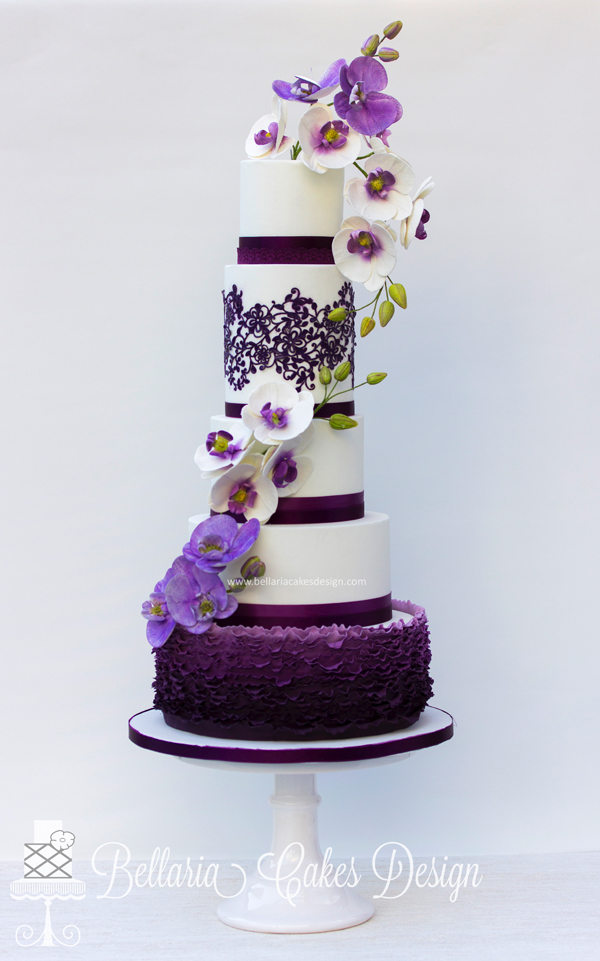 Purple and White Floral wedding Cake