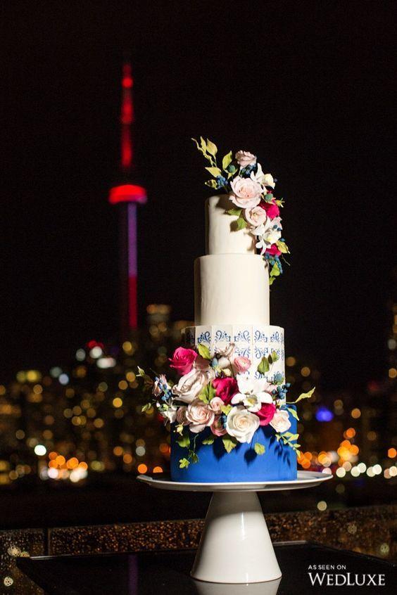 Blue and white porcelain tiled fondant wedding cake