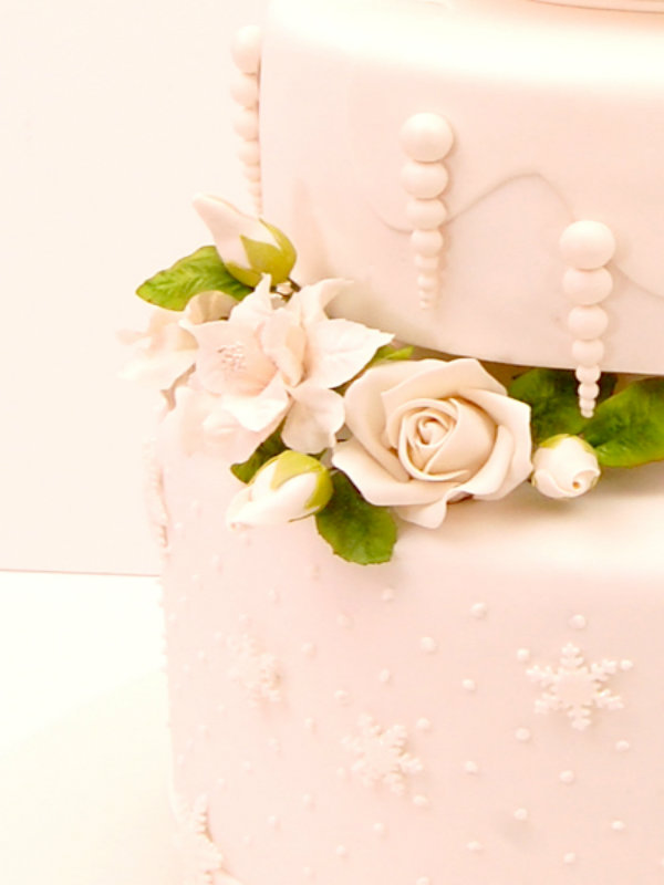 Baby Pink Winter Wedding Cake