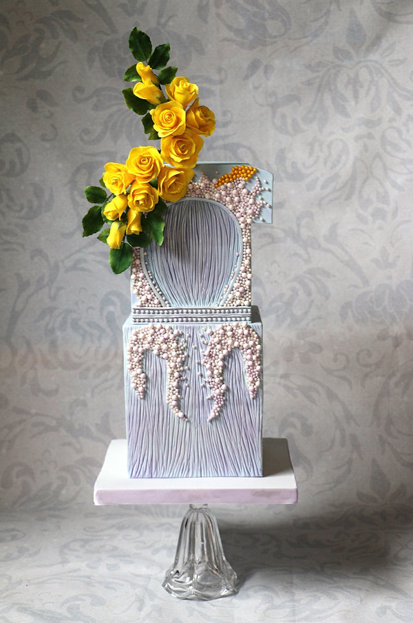 Baby Blue wedding cake Textured with Pearls