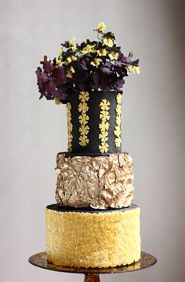Yellow & Gold with sugar flowers