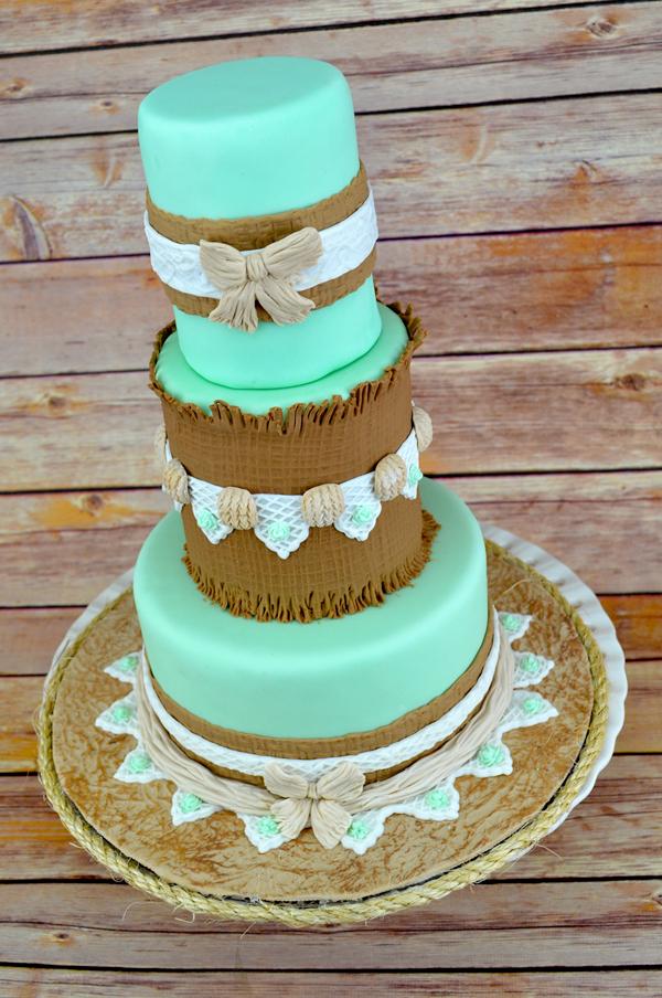 Rustic Burlap Cake
