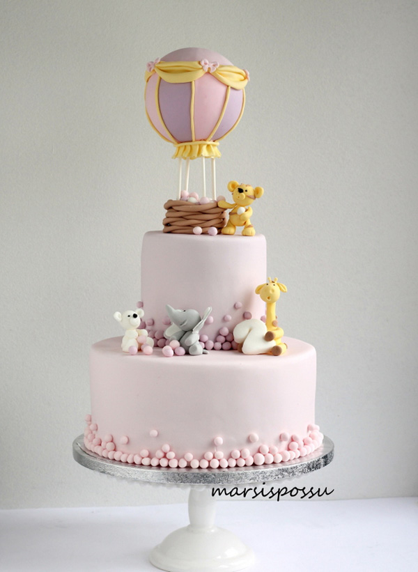 pink Balloon fondant Baby Cake