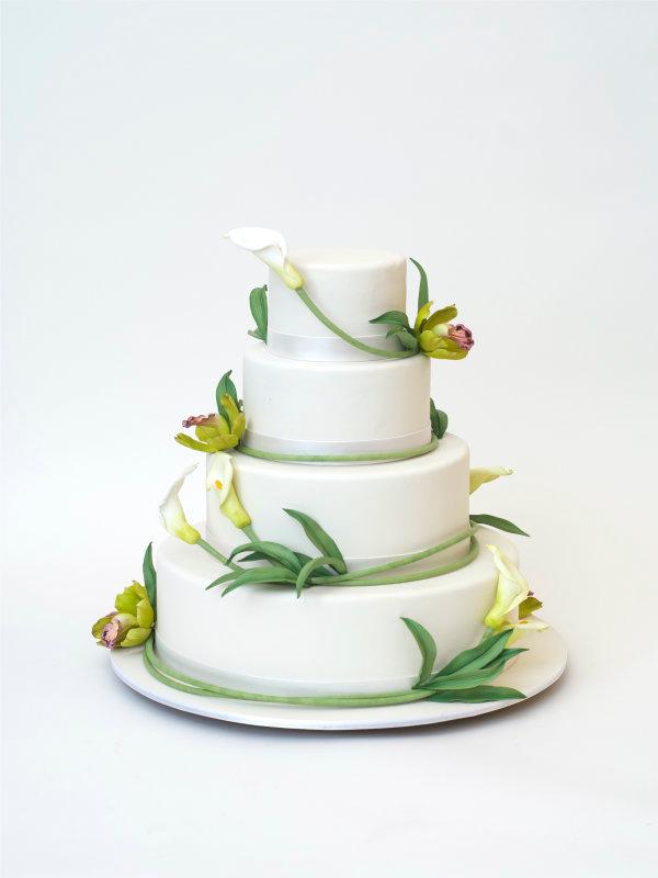 Green Floral Wedding Cake