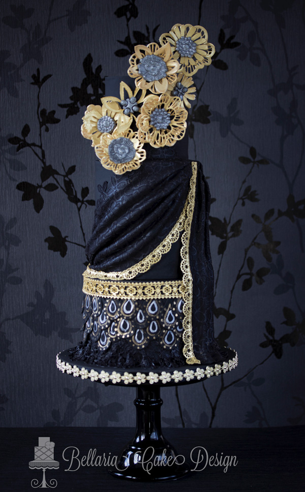 Black and Gold Draped Cake