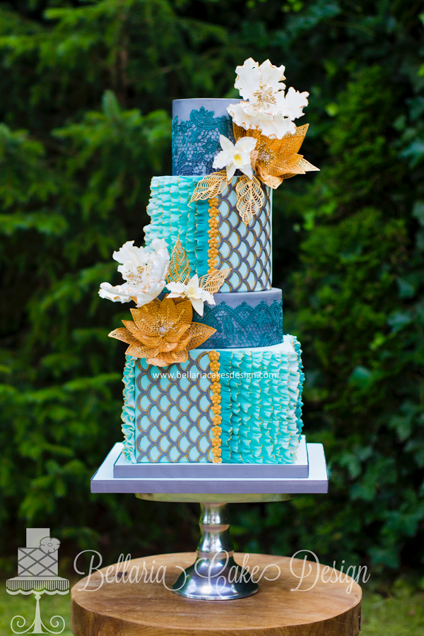 Modern Patterned Ruffle Cake