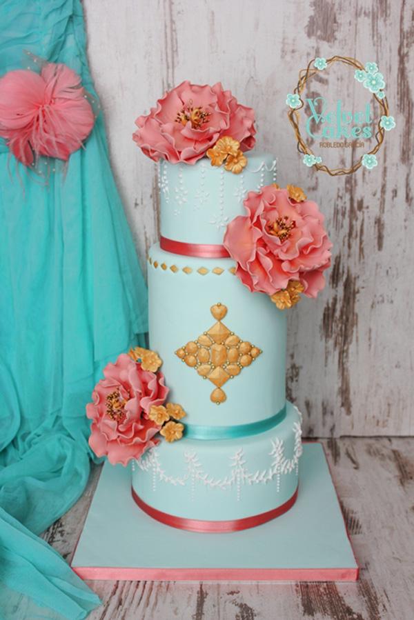 Baby blue fondant wedding cake