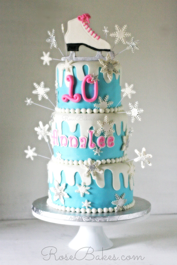 Ice Skating fondant birthday cake