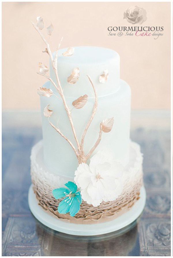 White fondant boho beach wedding cake