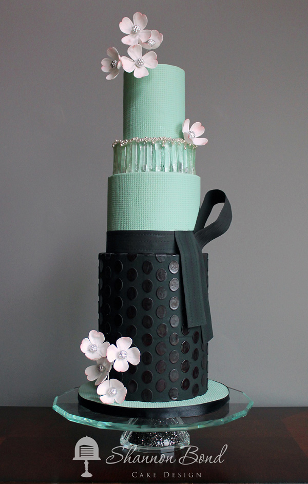 Pastel Green and Black fondant Wedding Cake