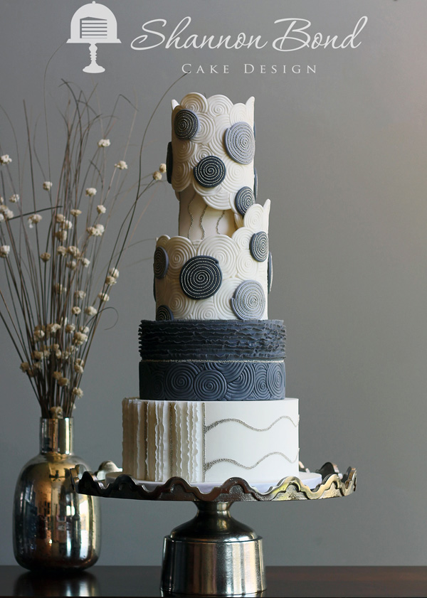 Gray & ivory couture fondant wedding cake