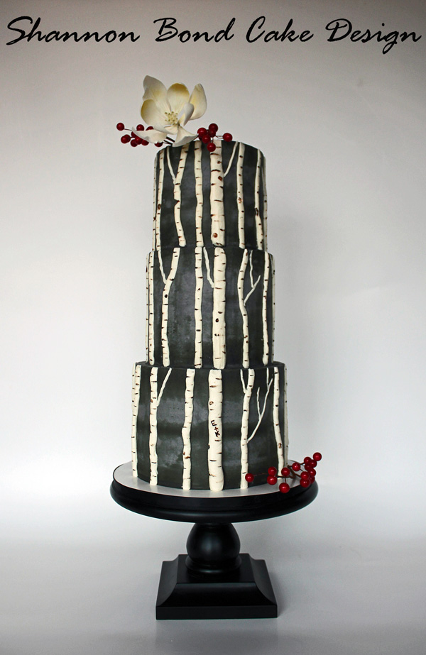 Black and white tree fondant wedding cake