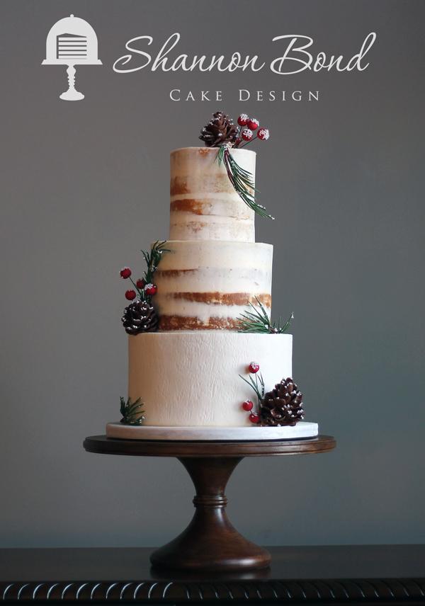 Rustic Naked Woodland Wedding Cake