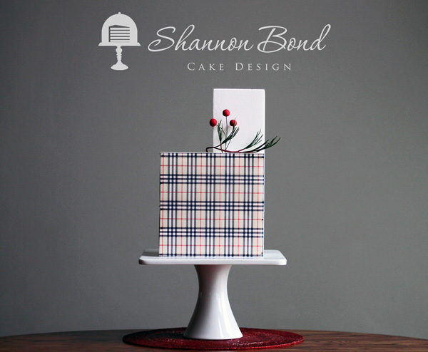 White fondant cake with Christmas Plaid pattern