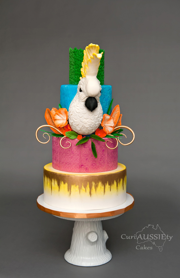 Bird and Floral Island Cake