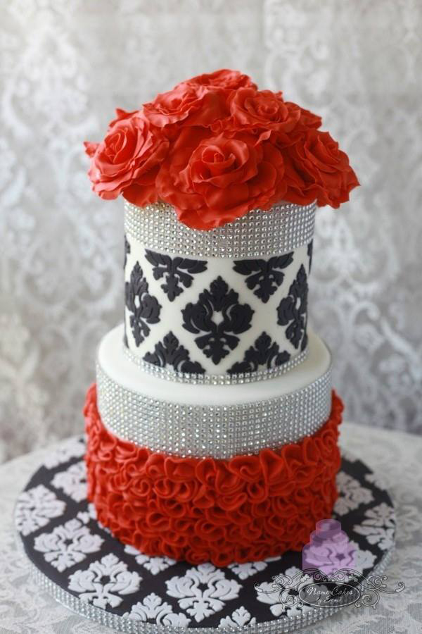 Red Floral fondant Wedding Cake