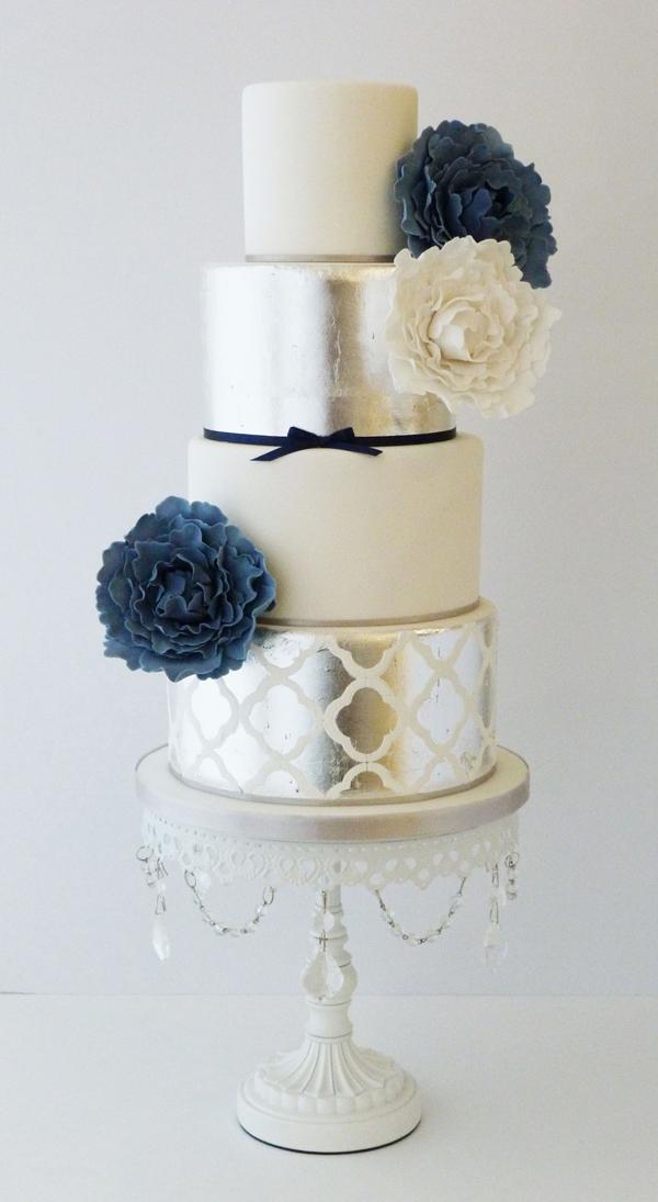 Metallic silver and ivory fondant wedding cake