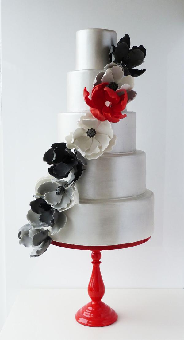 All silver metallic fondant wedding cake with sugar flowers