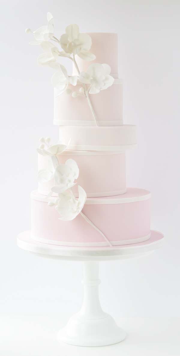 Elegant baby pink and white Wedding Cake