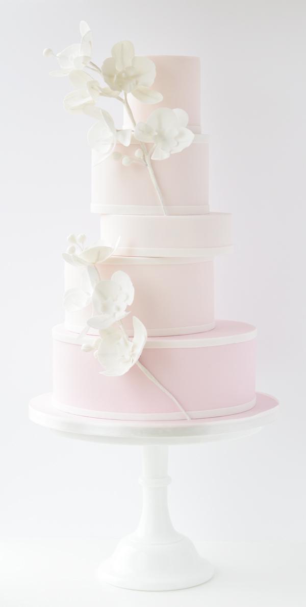 Elegant baby pink and white fondant Wedding Cake