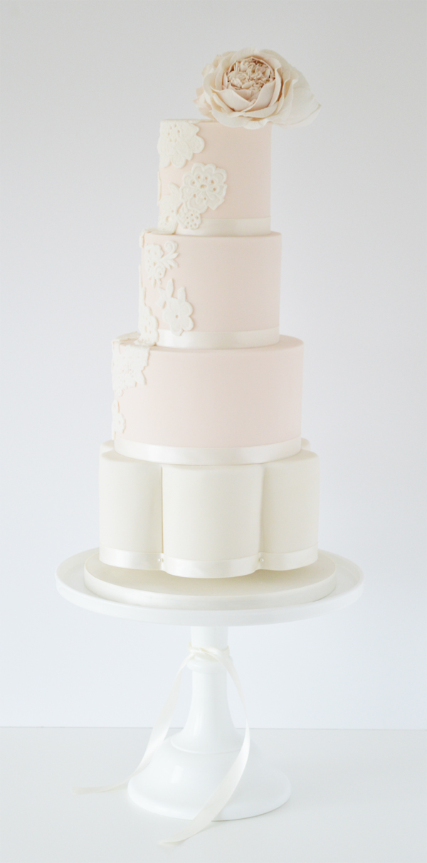 Baby pink and white Tiered Wedding Cake