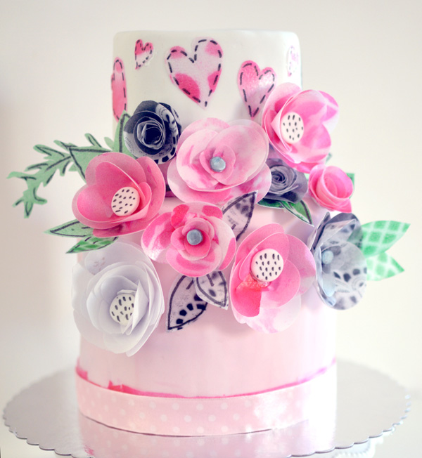 Pink Flower and Heart Cake