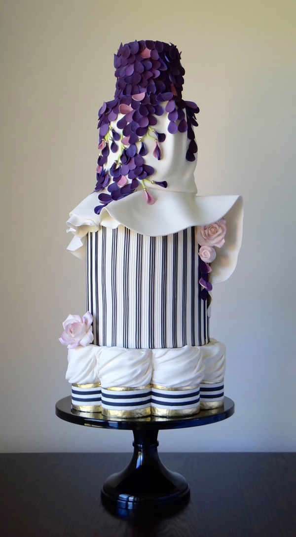 Purple and White Tiered Wedding Cake