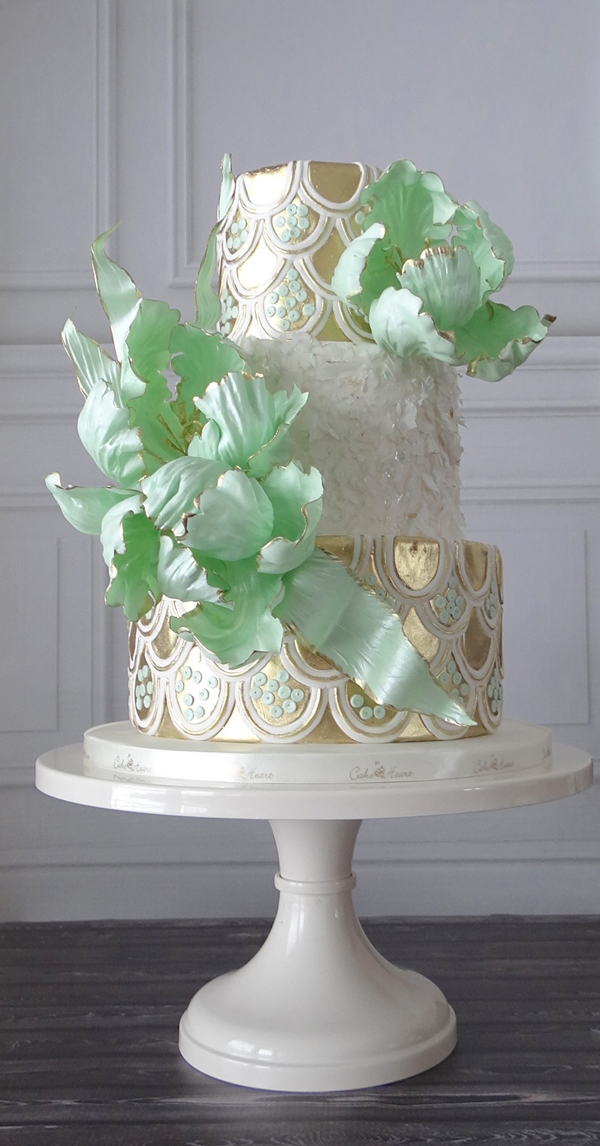 Pastel green and gold Wedding Cake