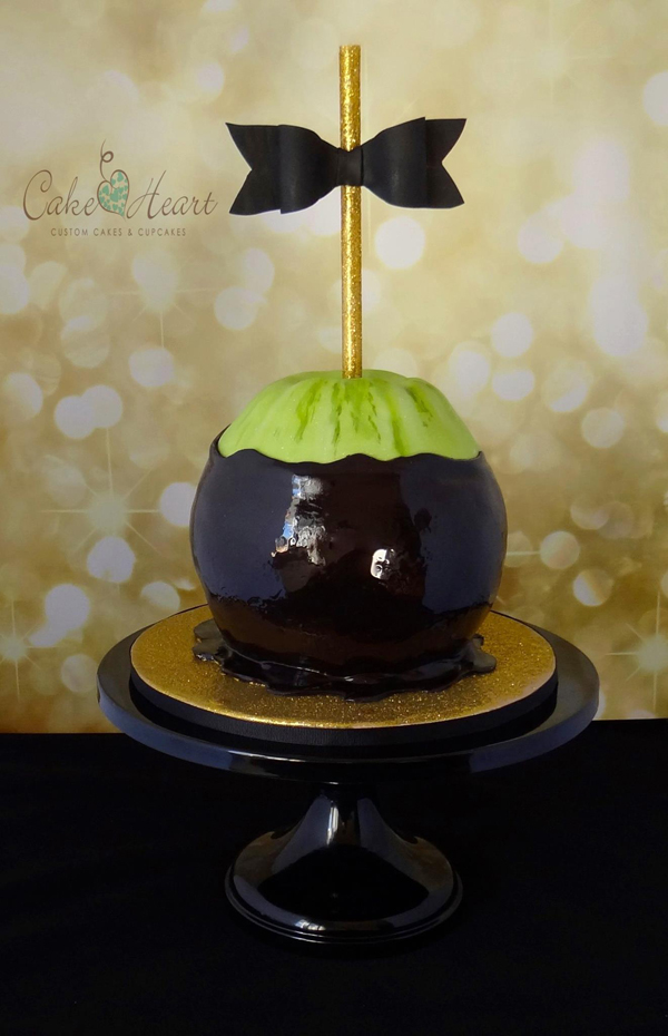 Black and green fondant candy apple