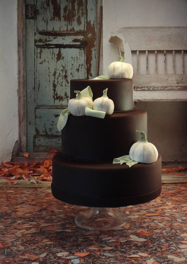Country Chic brown fondant  Cake with pumpkins