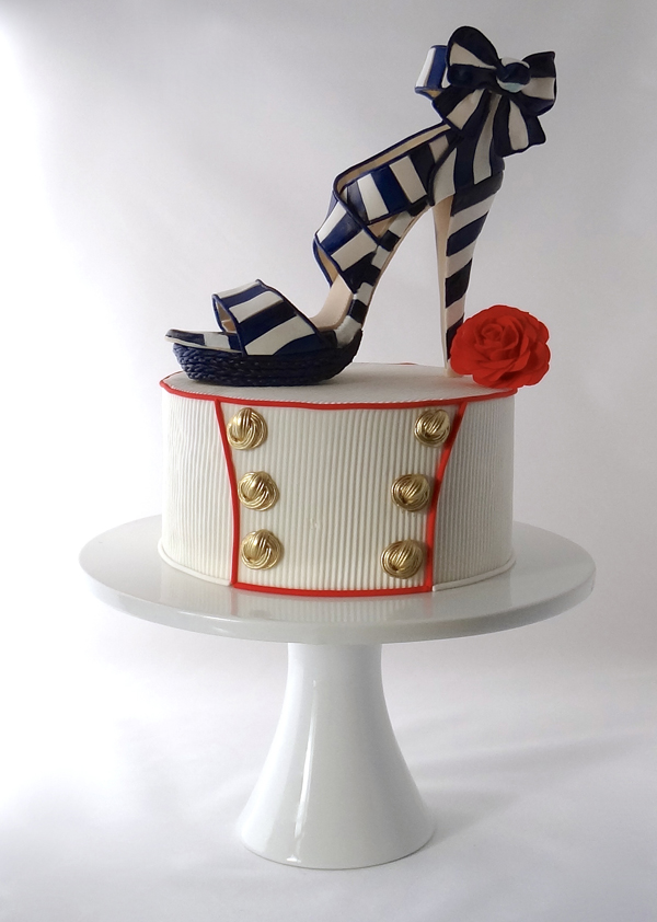 Blue and white striped high heel sugar shoe