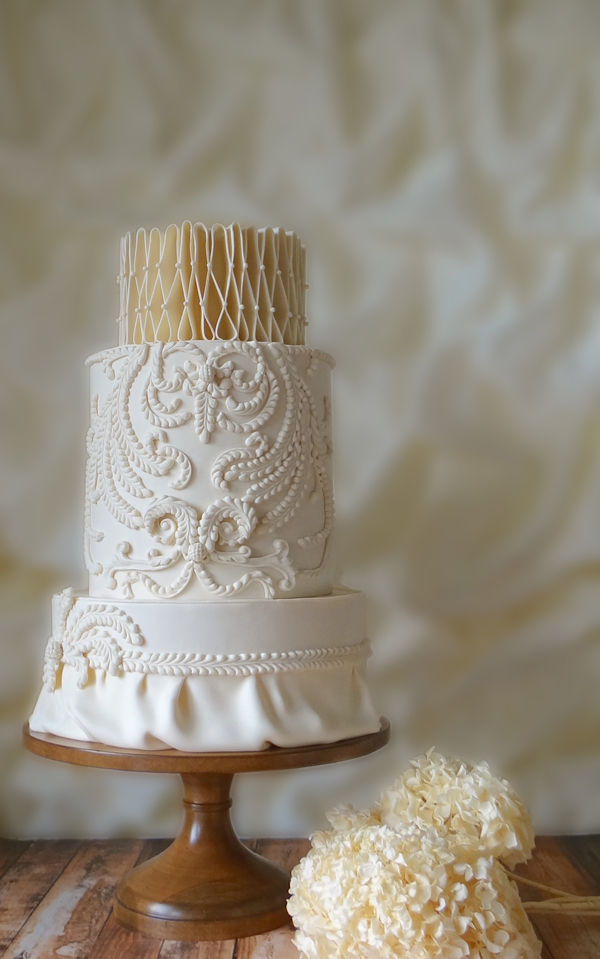 Elegant Pearl Ivory and gold fondant Wedding Cake
