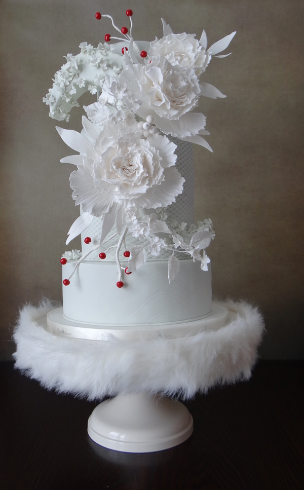 Winter white fondant wedding cake