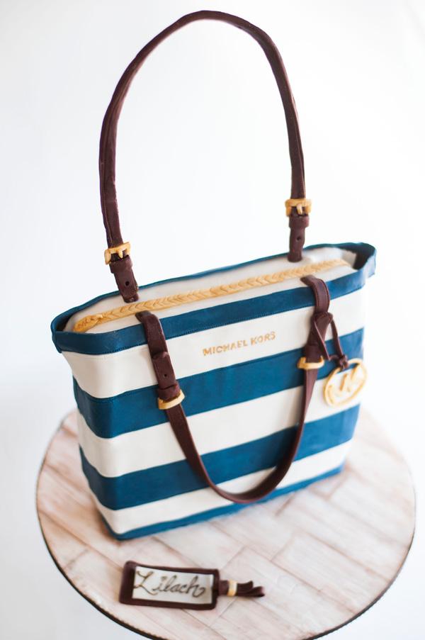 Blue and white striped fondant Handbag cake