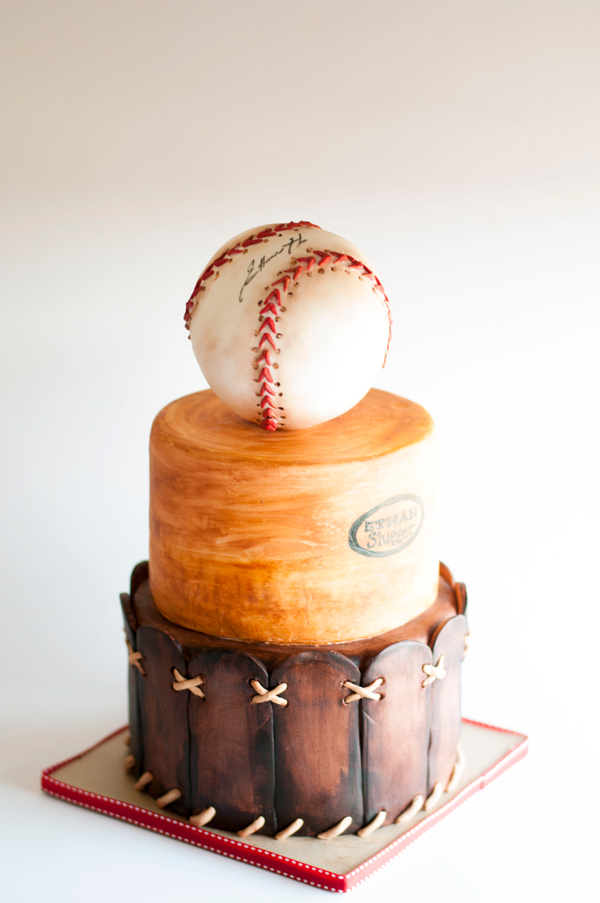 Baseball themed fondant birthday cake