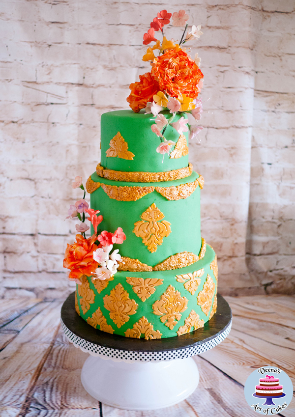Green Floral Embossed wedding Cake