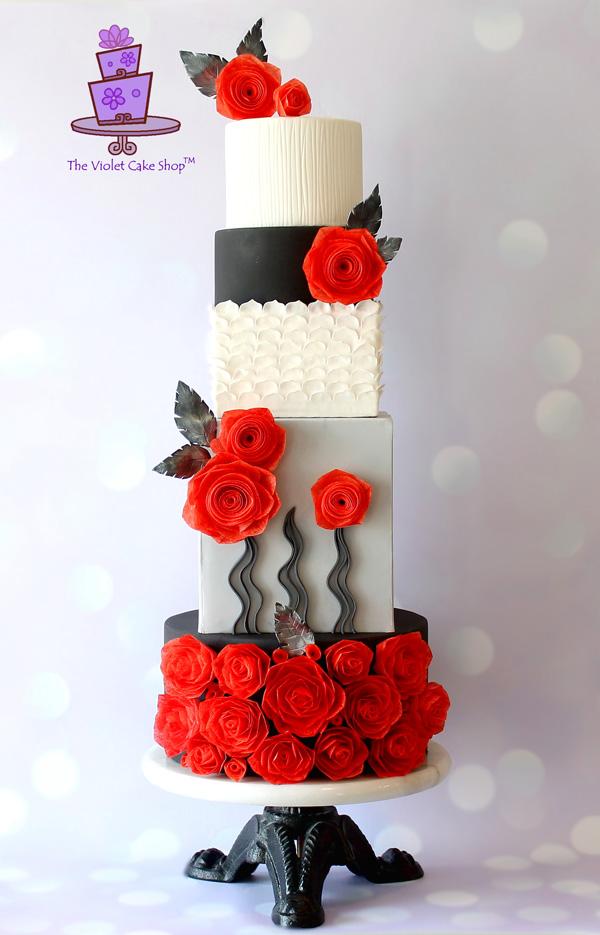 Modern Red Rose fondant Cake