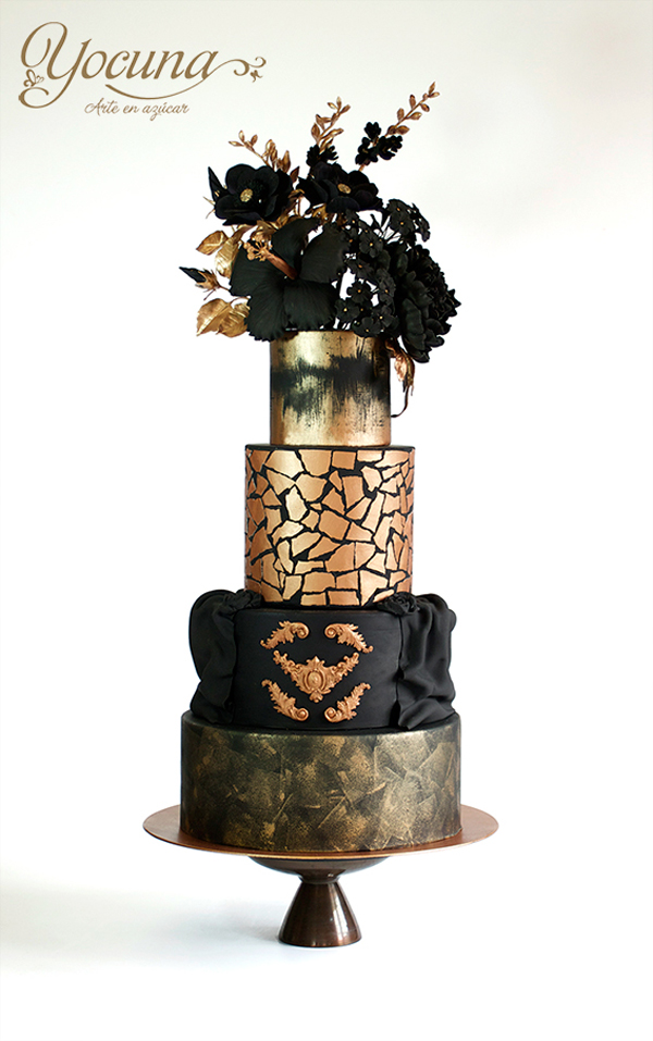 Black and gold fondant Floral Textured wedding Cake