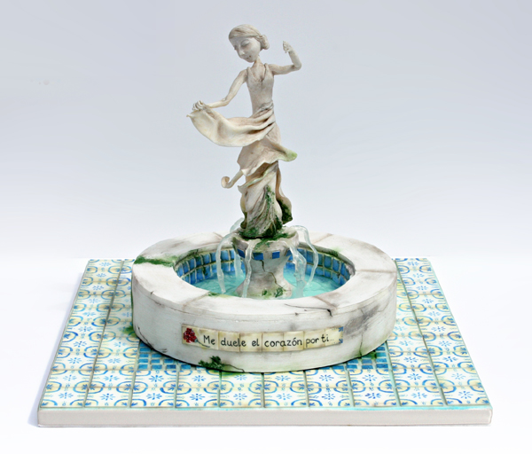 Spanish Garden water fountain cake