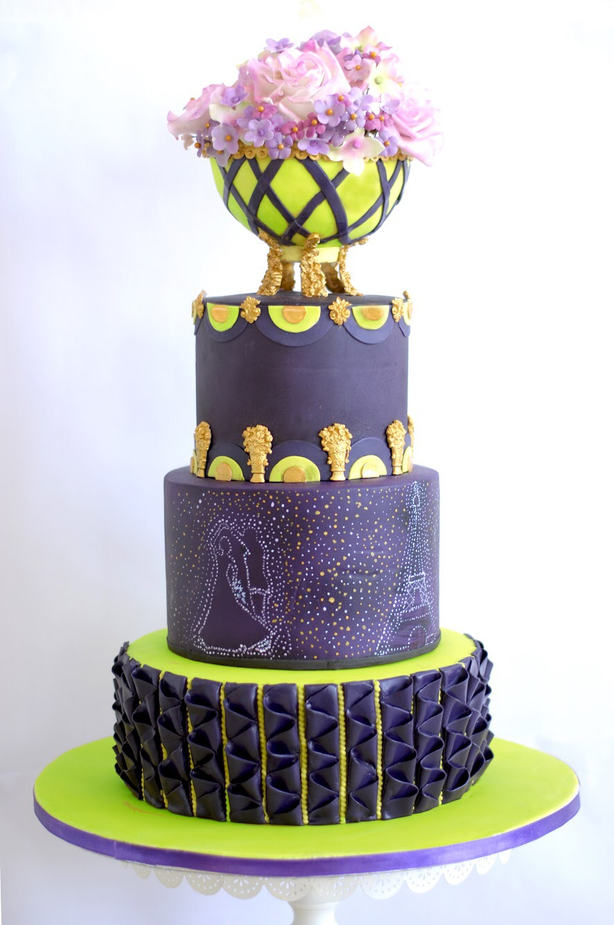 Purple wedding cake with sugar flowers