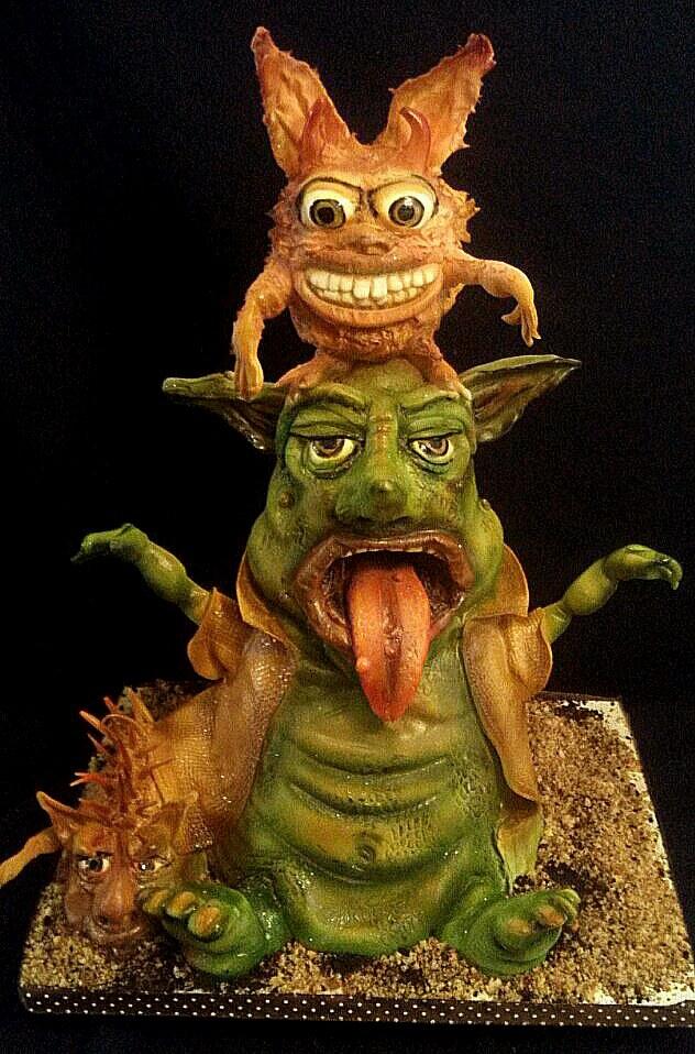 Topsy Turvy goblin cake