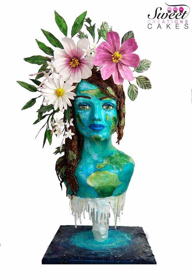 Mother Earth cake bust with sugar flowers
