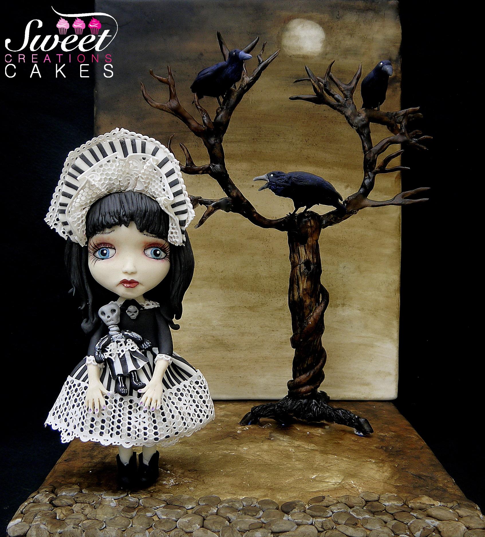 Creepy sculpted victorian doll