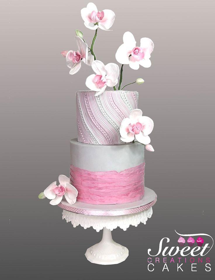 Orchids inspired silver and pink cake