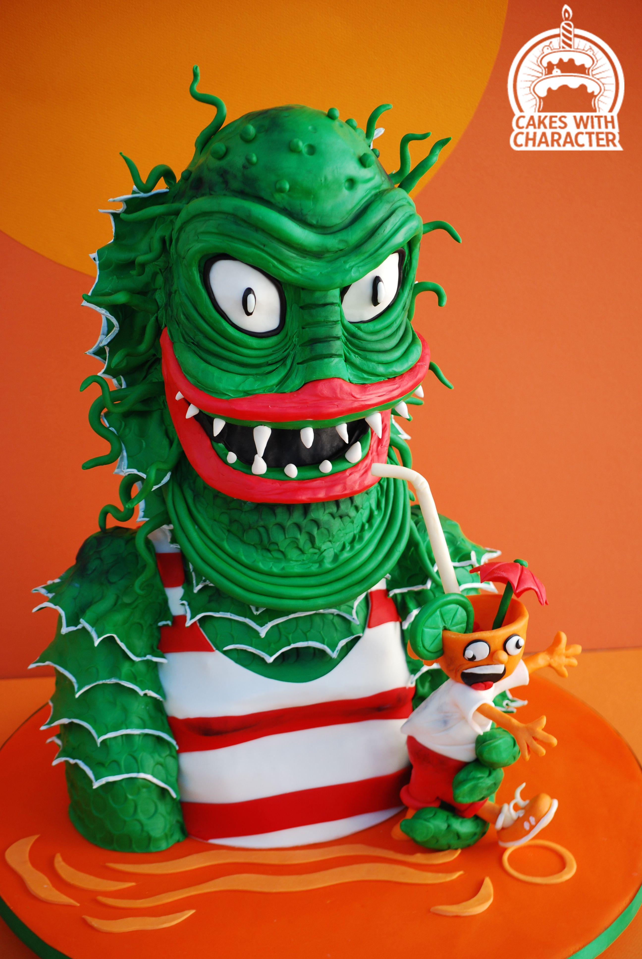 Green sea monster cake