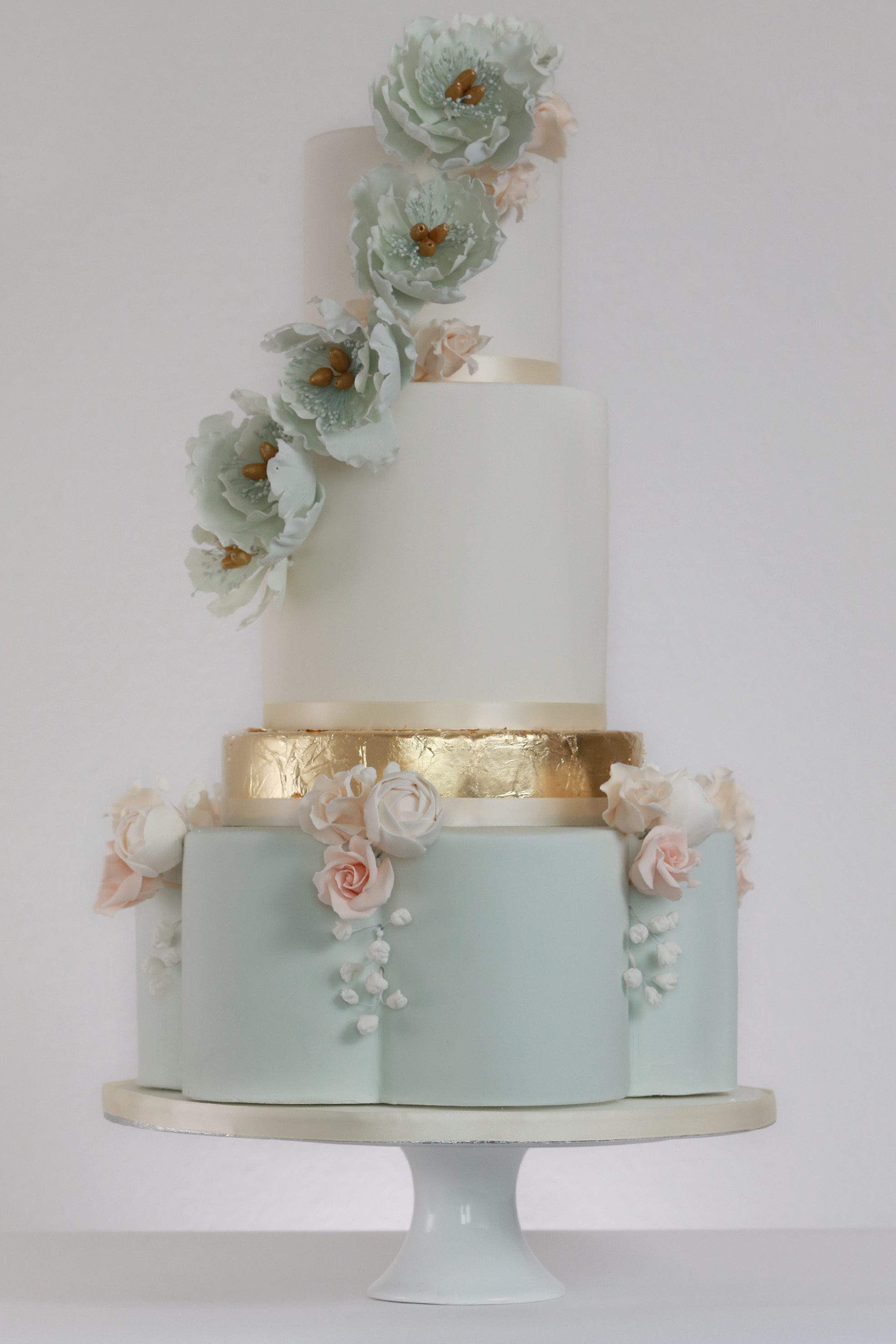 Blue Gold Petal Rosewood Wedding Cakes