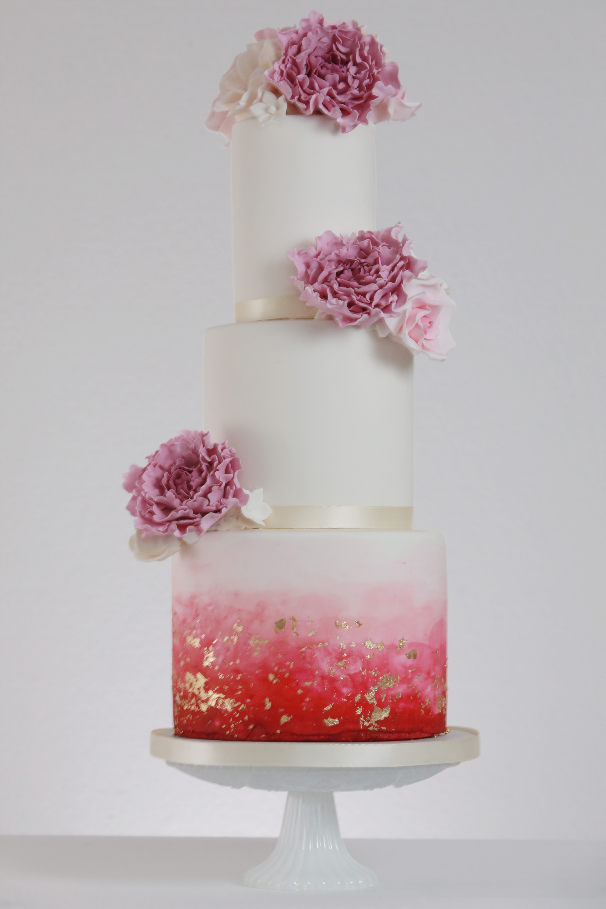 Ombre Pink Gold Wedding Cake