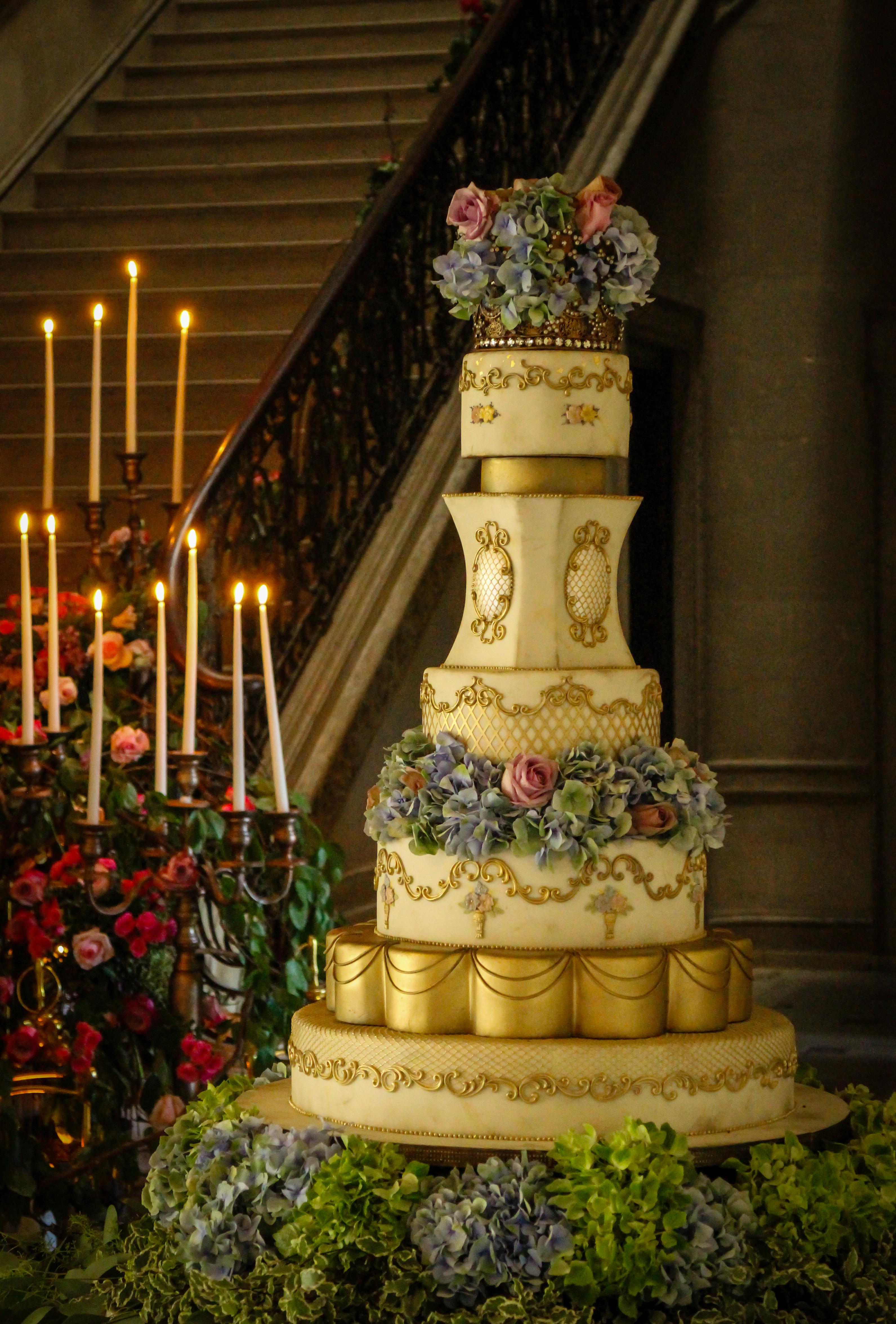 Rococo styled Ivory Wedding Cake