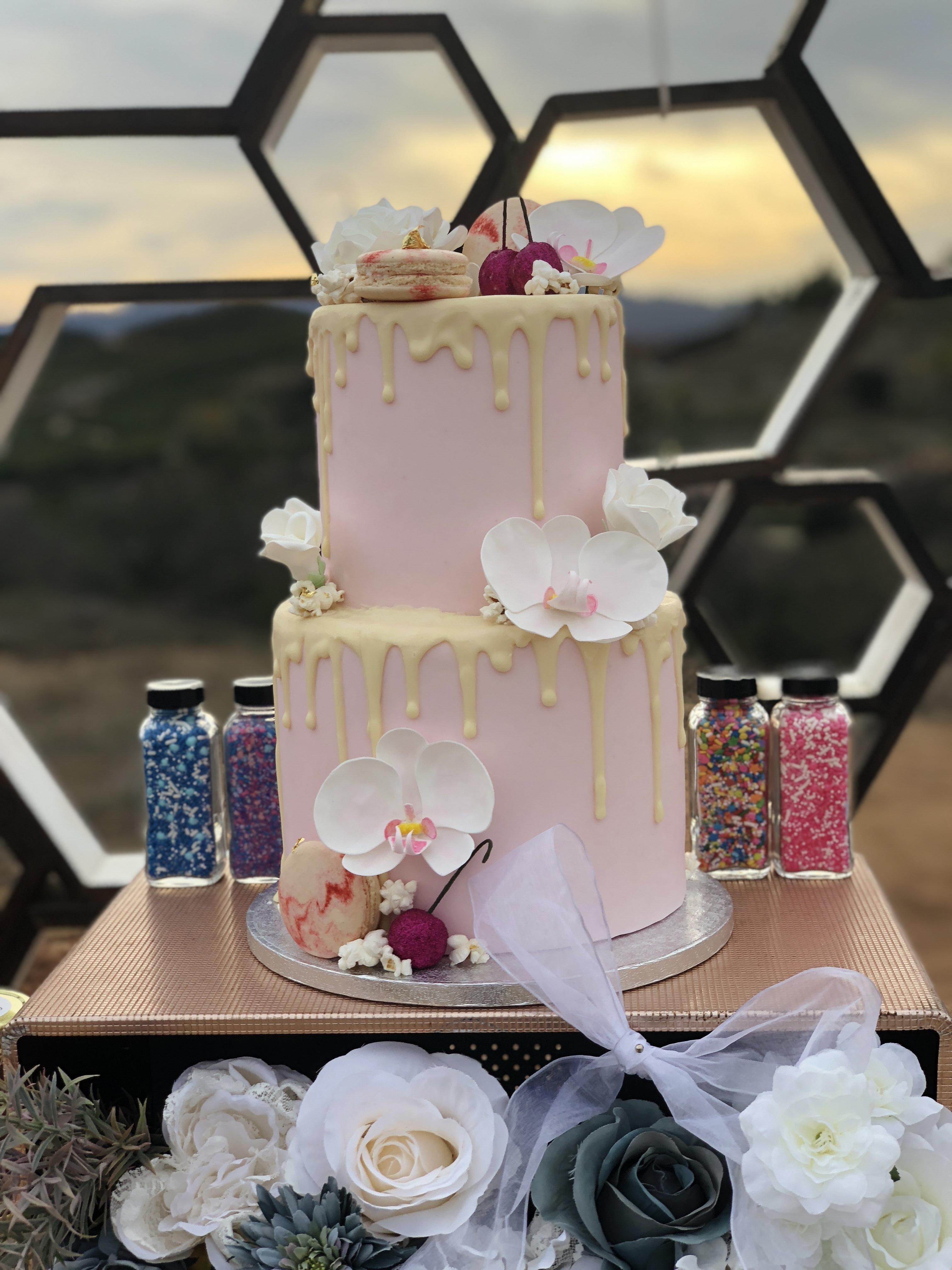 Baby Pink Drip Wedding Cake